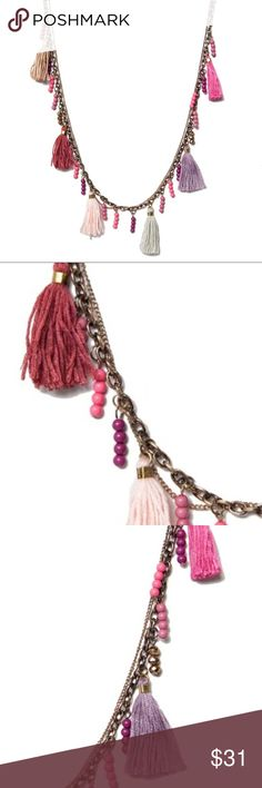 """BoHo Pink Tassel Necklace Tassels are pink, light purple, rust, light brown, silver   Beads are mauve, bronze, pink and purple! Fabulous for festivals and frivolity!! AND Just in time for Mother's Day. Suitable for gift giving. Comes in packaging. This 28"""" necklace is lead and nickel free. Tassels are 1"""" . Stock Photo used with permission. T&J Designs Jewelry Necklaces"""