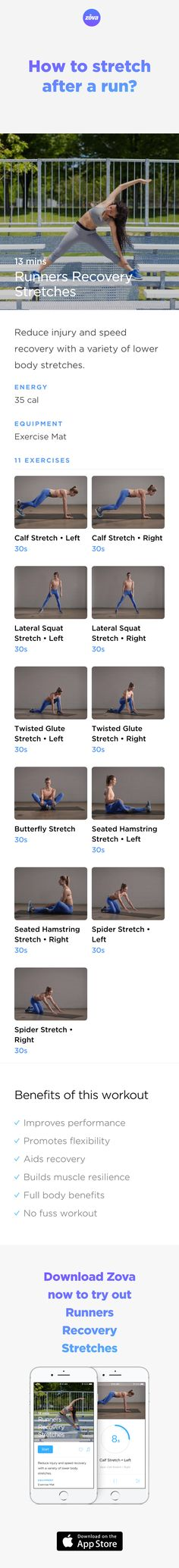 Stretching after a run will help you cool down gradually, avoid injuries in the future and improve your flexibility. As running uses specific muscles, it's important to target those areas in your port-run stretches. The workout below is designed for runners to stretch their lower back, quads, hip flexors, and hamstrings. #running #runners #weightloss #workout #fitness #HIIT #fullbody #sweat #bodyweight #calories