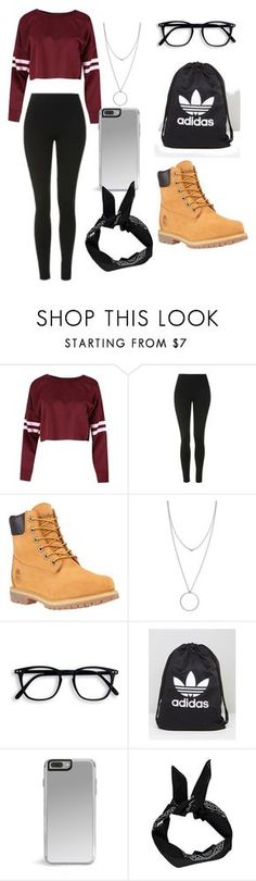"""""""Not ready for school"""" by killingit121 ❤ liked on Polyvore featuring Topshop, Timberland, Botkier, adidas and Boohoo"""