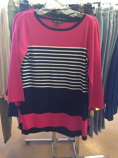 Tunic sweater with stripes.