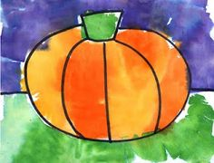 Tissue Paper Painting:  Pencil in a design, then trace with a heavy black marker. Halloween design shown, but any simple drawing will work. Next, wet the drawing with a brush, and then place the tissue paper on the spots to be colored. Work in sections, and gradually cover the entire paper with colored tissue paper squares. When finished, the tissue paper can be removed to reveal the color that has bled below. **Beware, stained fingers seem to be unavoidable, unless gloves are used.