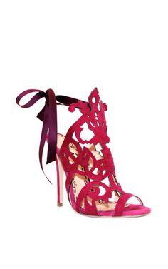 Fuschia Suede Jssica Sandal by MARCHESA for Preorder on Moda Operandi