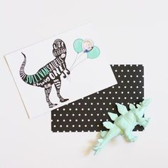 modern polka dot mint black white dinosaur invitation // Brittany Garner Design http://www.brittanygarnerdesign.com/pages/custom-design