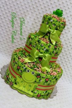 Frogs for Girls Baby Diaper Cake Shower Gift or Centerpiece created by www.diannasdiapercakes.com