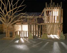 An indoor fort made of pallets