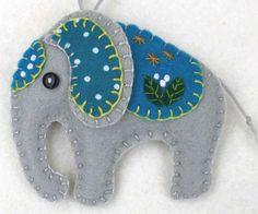 Felt Elephant Ornament, Elephant Christmas ornament