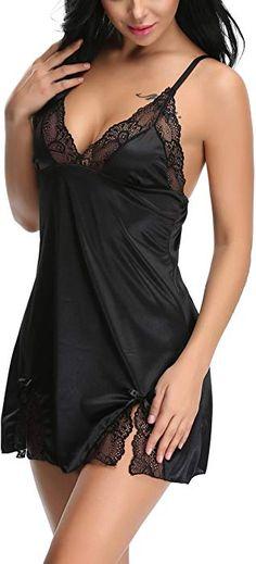 8c0c9188b8bc6 Holagift Women Sexy Lingerie Sleepwear V Neck Satin Lace Chemise Nightgown Black  S at Amazon Women s
