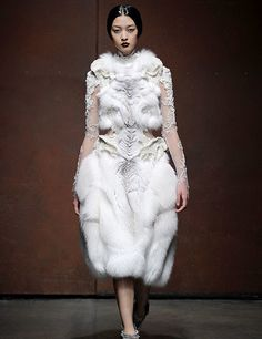 Marion Chopineau for Yiqing Yin dress made from sculpted fox fur with  Sophie Hallette embroidered lace 06f97167503