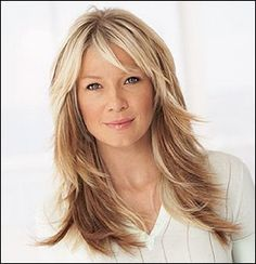 Long Layered Hairstyles | Image of long layered hairstyle with long bang.jpg picture