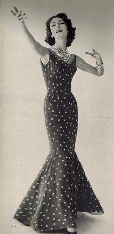 Estevez polka dot mermaid gown Vogue 1957