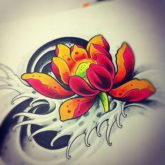 tattoo art Japanese Lotus by willemxsm