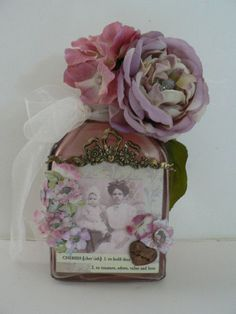 Altered Bottle AssemblageTo Love and Cherish by Kymsart777 on Etsy, $20.00