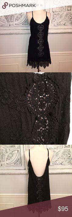 "Nightcap Slip Dress! Black Lace. NWT! Sz. 3. Measurements flat: UA to UA 17"". Length top of strap to hem 35"". Waist 18"". Brand new with tags. Smoke free, clean home. Nightcap Dresses Mini"