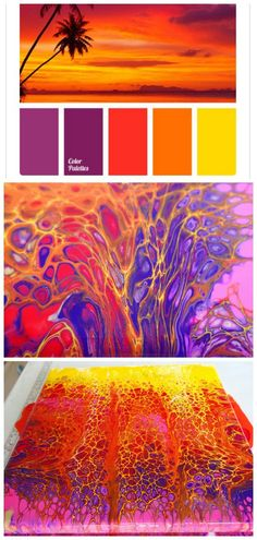 Sunset colors acrylic swipe painting. Vivid colors make for awesome cells in this video tutorial for a sunset acrylic pour and swipe painting
