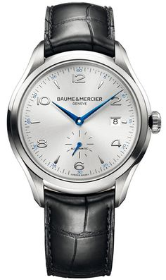 Baume And Mercier Clifton Silver Dial Black Leather Automatic Mens Watch 10052 - $1900