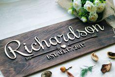 Wedding Last Name Sign Wedding Established by WoodenEngravedShop