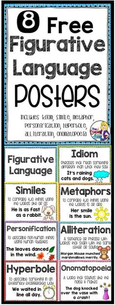 These 8 Figurative Language Posters are a great way for you to introduce different types of figurative language and can also be displayed in the classroom and used as a reference for your students. There is a poster for each type of figurative language including similes, idioms, metaphors, hyperbole, alliterations, personifications, and onomatopoeia, as well as a title poster that says Figurative Language. Also included in my Figurative Language Unit for 4th/5th grades! (TpT Resource)