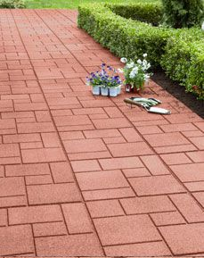 Envirotile walkway made from recycled rubber tires. to do for sale of home Rubber Pavers, Rubber Tires, Backyard Storage, Outdoor Playground, Diy House Projects, Rubber Flooring, Outdoor Living, Outdoor Decor, Outdoor Projects