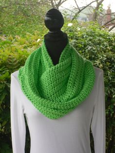 Infinity Eternity Cowl Neck Warmer Scarf Lime by ClusterCrochet