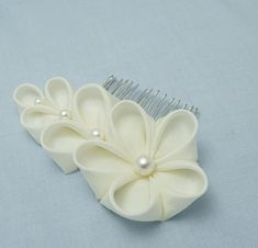 Flor de seda marfil nupcial novia flores boda por HanamiGallery