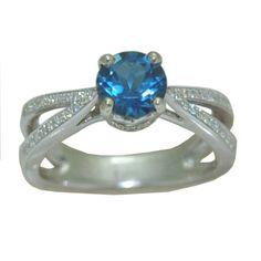 Blue Topaz Ring in White Gold https://www.goldinart.com/shop/colored-gemstone-rings/blue-topaz-ring-2 #BlueTopaz, #WhiteGold
