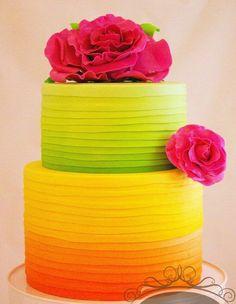 bright lime, lemon, orange ombre wedding cake