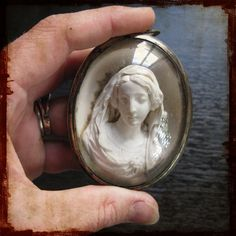 Antique French Religious Meerschaum Medallion Our Lady Virgin Mary - Vintage Cameo Glass Dome