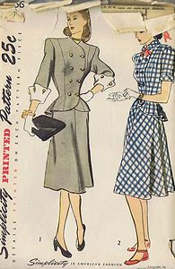 Vintage 2 PC Dress Sewing Pattern 40s Simplicity 1866 Sz 16 Bust 34 Hip 37 Uncut | eBay