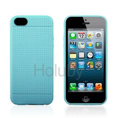 Flexible Mesh Design TPU Protective Case for iPhone 5/5S(Baby Blue)