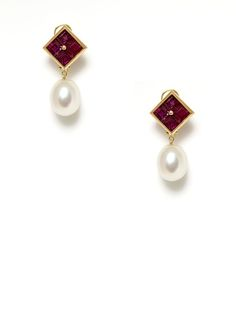 """Assael Ruby Cluster & White South Sea Pearl Drop Earrings. Also filed under """"things that will happen when I win the lottery"""""""