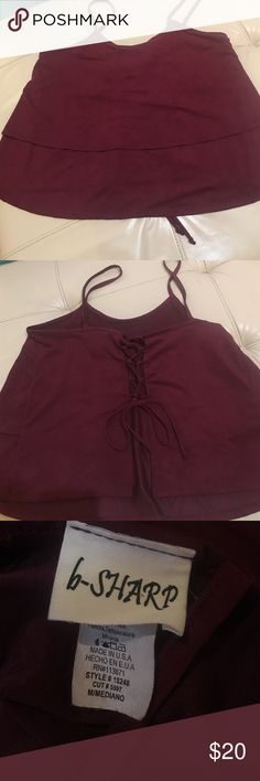 Burgundy boutique Top Lace up the back burgundy faux suede boutique top boutique Tops