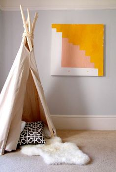 teepee/tent has been on my kids' room to do list for a while. love this one! (nice art too.)