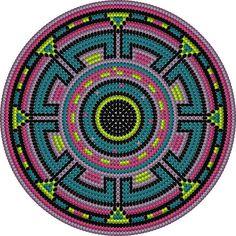 Medallion Pattern Tapestry Crochet Patterns, Crochet Stitches Patterns, Beading Patterns, Stitch Patterns, Form Crochet, Crochet Chart, Knit Crochet, Mochila Crochet, Rug Yarn