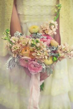 Amazing Pastel Bouquet! Yellow, Pink, & Peach Ranunculus, Foliage, Dusty Miller~~