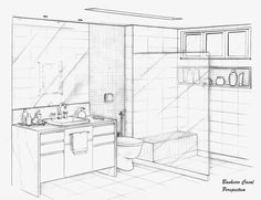 Home Decoration Application Interior Architecture Drawing, Architecture Concept Drawings, Drawing Interior, Interior Design Sketches, Interior Rendering, Bathroom Interior Design, Architecture Design, Perspective Room, Perspective Sketch