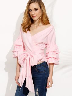 Pink Pleated Bell Sleeve Bow Tie Waist Blouse