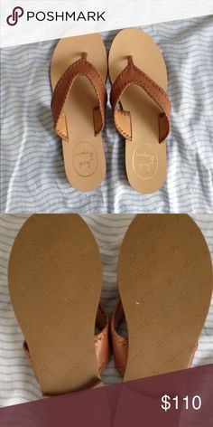 Jack Rogers sandals Jack Rogers Meghan whipstich thong sandal in brown. In great condition Jack Rogers Shoes Sandals