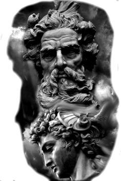 Zeus Tattoo, Statue Tattoo, Poseidon Tattoo, Mens Sleeve Tattoo Designs, Full Sleeve Tattoo Design, Sketch Tattoo Design, Full Sleeve Tattoos, Leg Tattoos, Tribal Art Tattoos