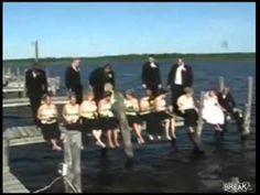 Wedding goes wrong after stage breaks and all falls into the lake