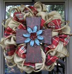 """BURLAP WREATH with RUSTIC Cross...perfect for FALL.  and when I pinned this under """"crafts for me"""", I of course meant """"crafts for Andrea""""."""