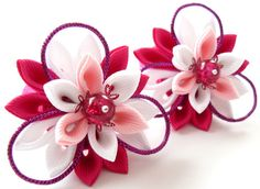 Kanzashi fabric flowers. Set of 2 ponytails . Pink and by JuLVa, $13.50