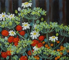 Original acrylic painting  summer flowers by RuthHomdenPaintings