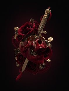 Tattoo Rose Dagger Skull by UK artist Billelis.