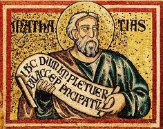 """Mosaïque du baptistère de St Jean Baptiste. Les """"(grands) prophètes"""". 7. Matatia (Mathatias)"""
