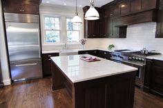 Bradford Designs - kitchens - polished carrara marble countertops, dark walnut cabinets, dark kitchen cabinets, dark walnut kitchen cabinets...