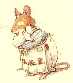 Les souris des quatre saisons de Jill Barklem. Poppy et son bébé (enfin, un des trois !)