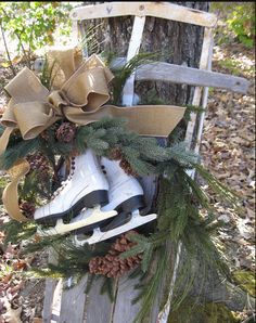 Outdoor Christmas Decoration Ideas - Ice Skate Wreath - Click Pic for 20 Front Porch Christmas Decorating Ideas