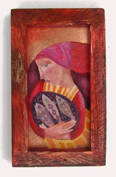 The Fishwife, original painting in a hand made wooden frame by SharonMarieWinter on Etsy