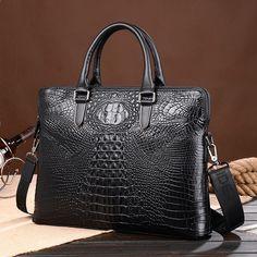 9547047266a67 off  Men Business Real Genuine Leather Crocodile Grain Briefcase Travel  Causal Shoulder Messenger Portfolio Bolsa Laptop Tote Bags