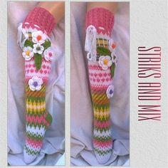 Pink Floral socks Knitted Tigh High Knee womens socks | Etsy Fair Isle Knitting, Knitting Socks, Hand Knitting, Floral Socks, Womens Socks, Soft And Gentle, Beautiful Legs, Hand Crochet